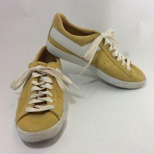 Pony retro design yellow  leather suede sneakers